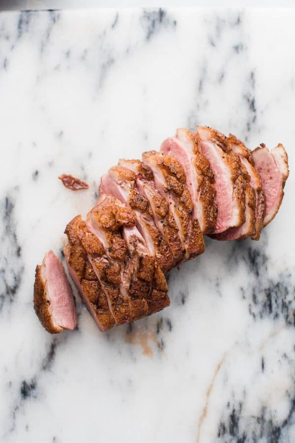 sliced pan-seared duck breast