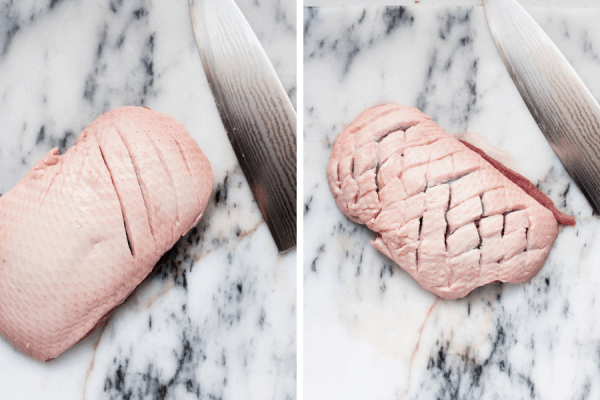 collage of scoring the fat of a duck breast