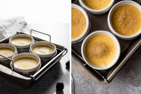 collage of creme brulee in water bath and with sugar on top before caramelized the sugar