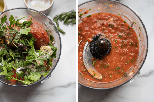 before and after of homemade pizza sauce ingredients in the food processor
