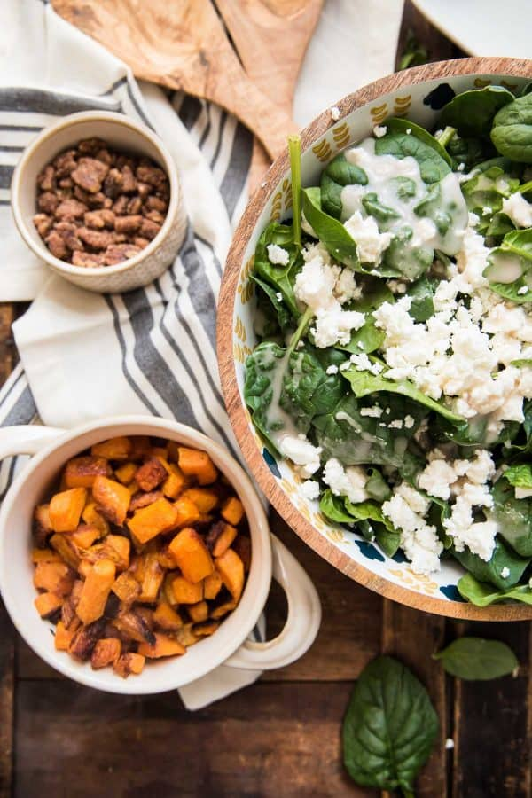 ingredients for warm spinach salad with goat cheese and roasted butternut squash