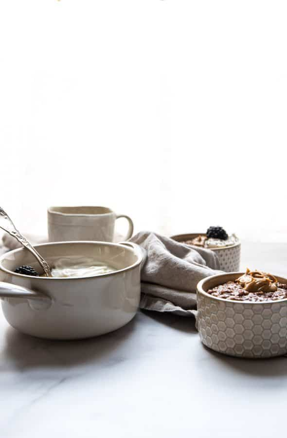 bowls of different sizes with chocolate steel cut oats