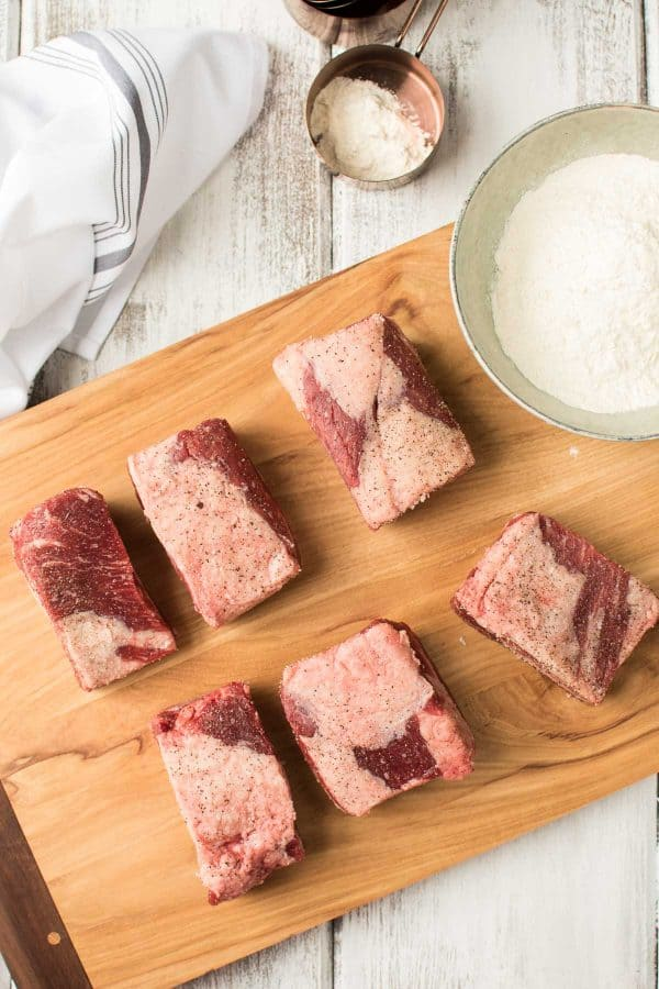 beef short ribs seasoned with salt and pepper