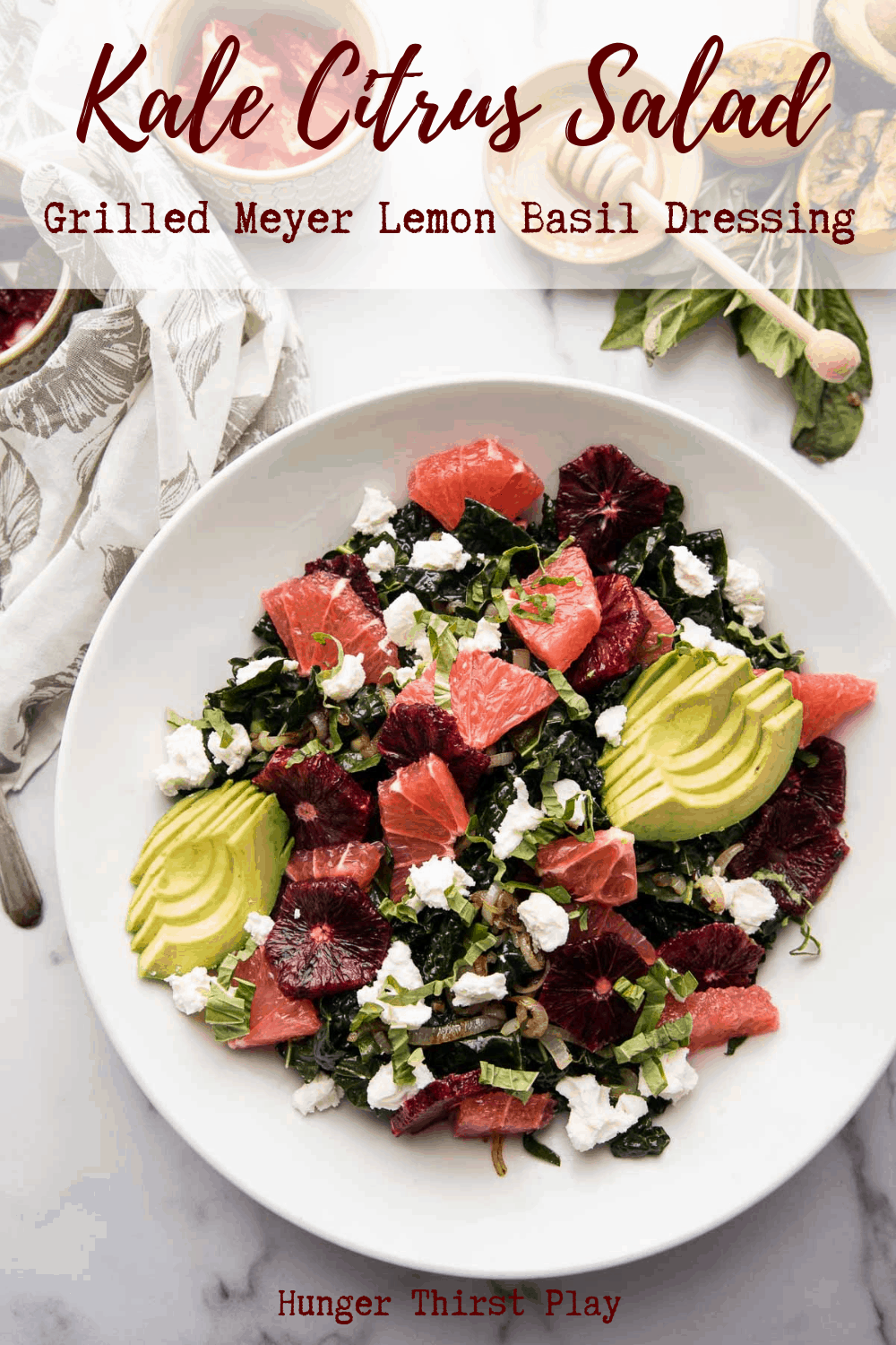 Kale citrus salad is the best easy salad recipe to get ready for fresh spring flavors! Lemon dressing massaged kale with grapefruit and blood orange, buttery savory shallots, creamy goat cheese and sweet honey drizzle. Make this Kale Citrus Salad as a side dish or top with protein and enjoy as a main dish.