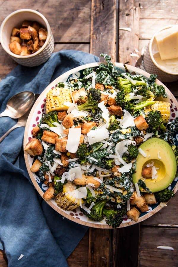 Bowl of roasted broccoli and kale caesar salad