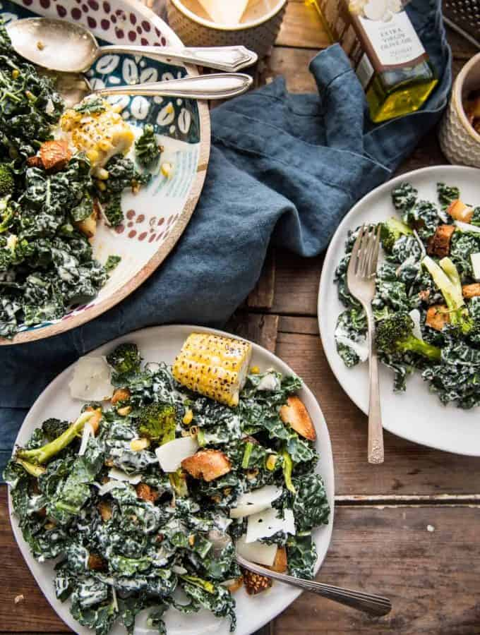 Roasted Broccoli and Kale Caesar Salad
