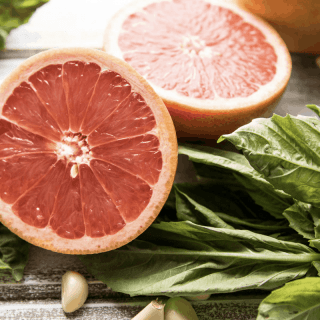 ingredients for grapefruit basil pecan pesto