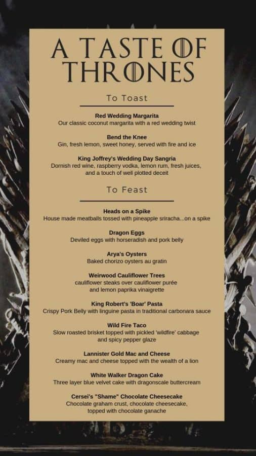 Game of Thrones Menu