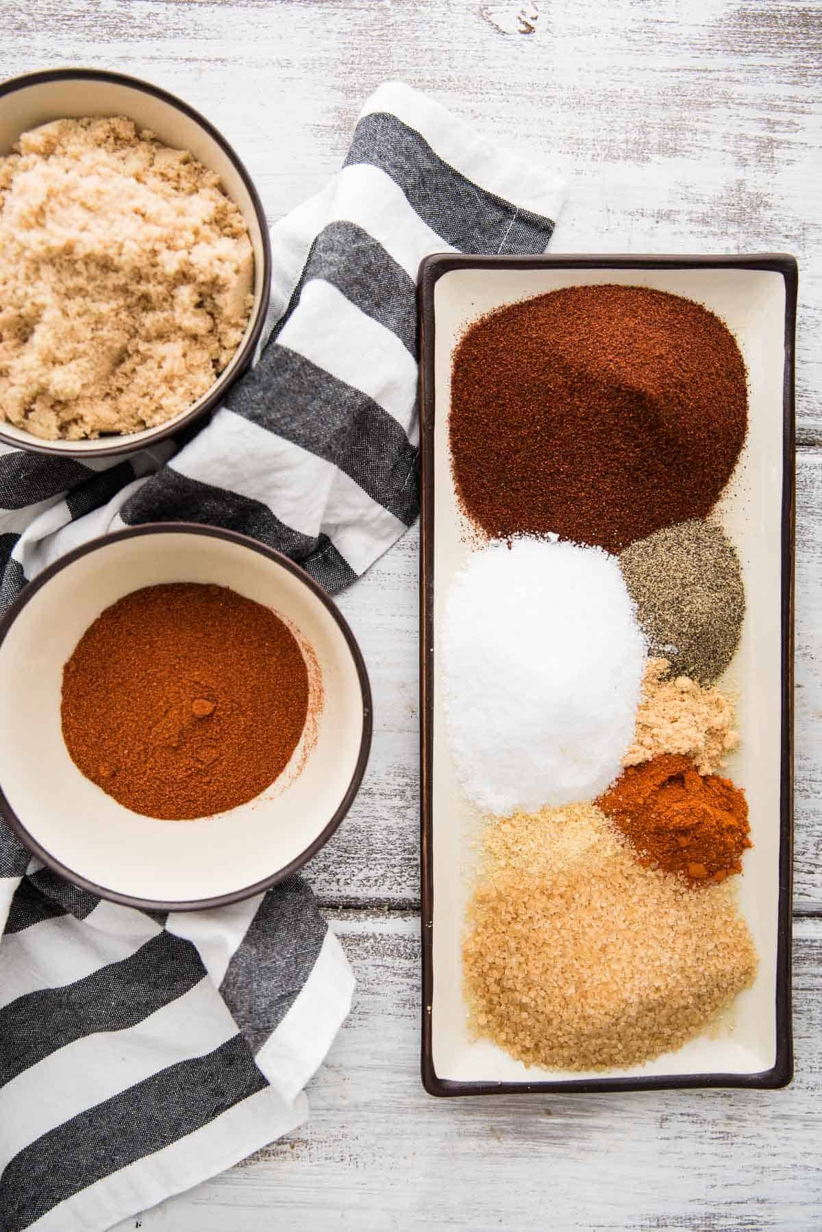 overhead view of spice rub ingredients separated