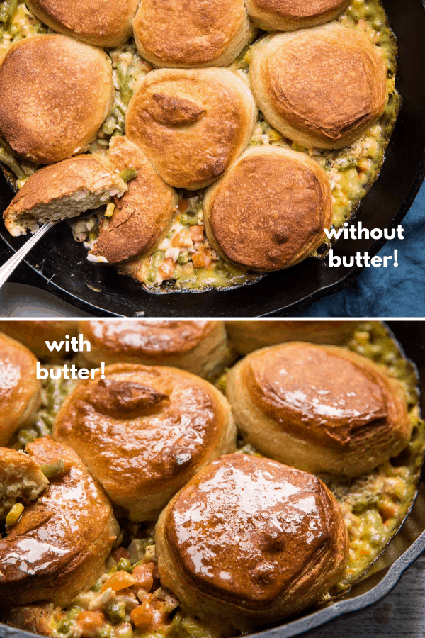 collage comparing biscuits topped with and without butter