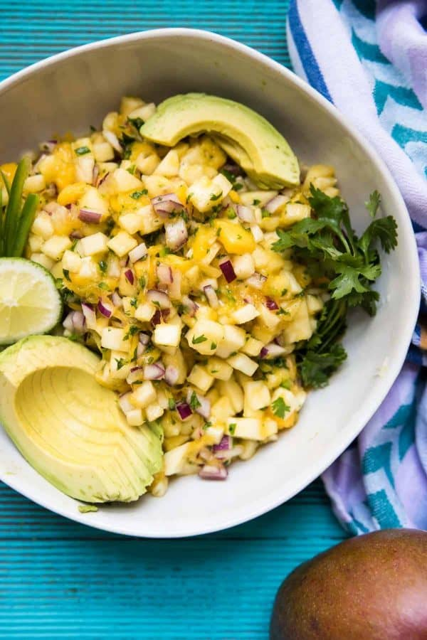 close up overhead view of pineapple mango salsa