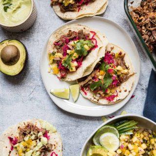 overhead view of pork carnitas taco ingredients