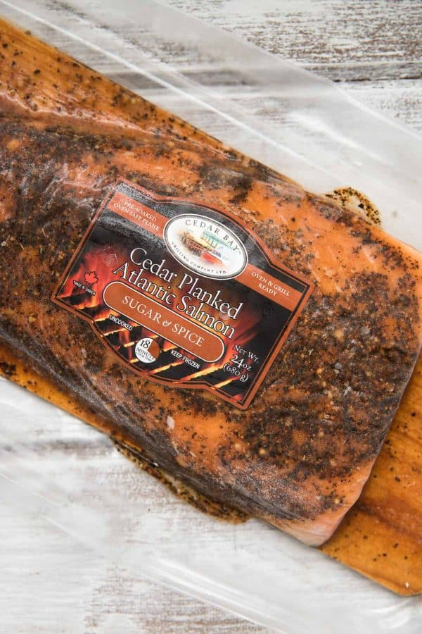 close up of cedar bay grilling company ready to cook cedar plank salmon