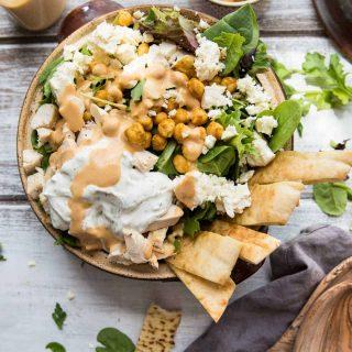 chickpea shawarma salad with tzatziki