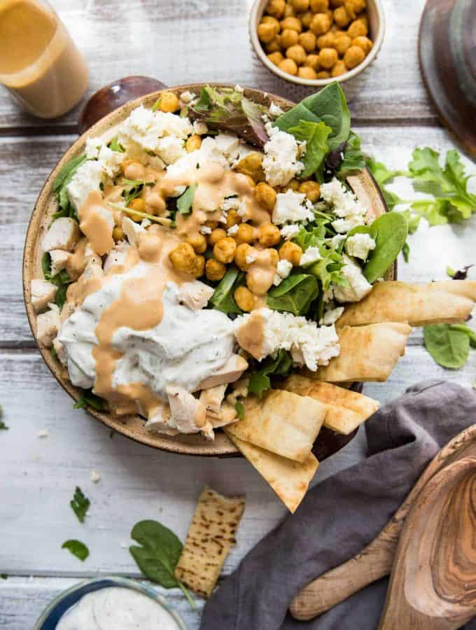 chickpea shawarma salad with tzatziki