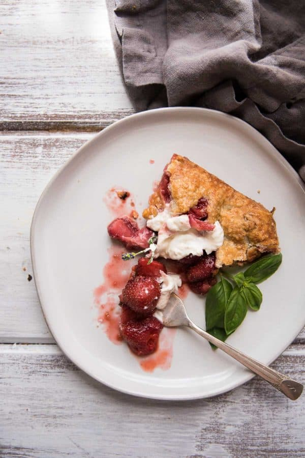 slice of strawberry galette on a plate
