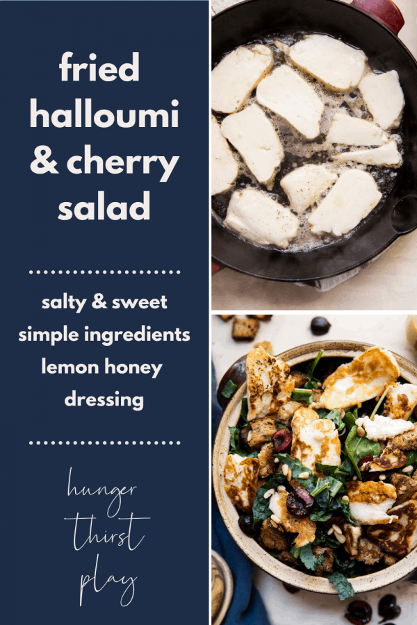 collage of fried halloumi and cherry salad