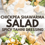 collage of chickpea shawarma salad