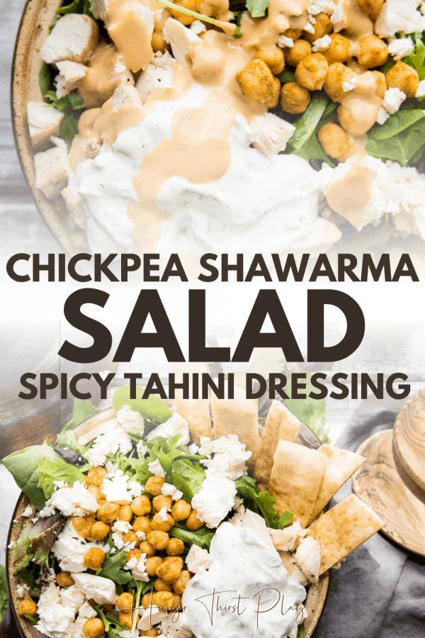 collage of chickpea shawarma salad