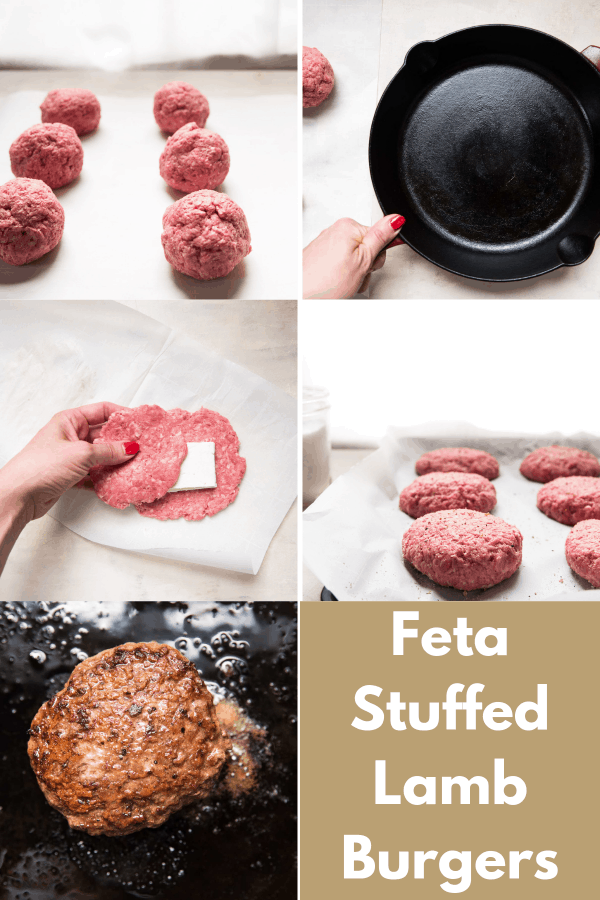 collage of steps to make feta stuffed lamb burgers