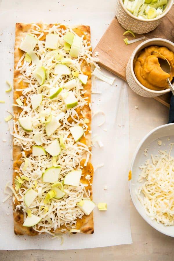autumn squash flatbread ready to bake