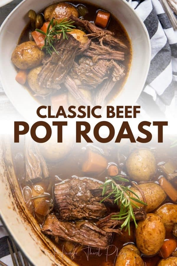 collage of beef pot roast photos