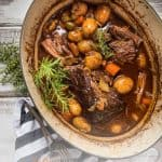 over head of dutch oven with pot roast
