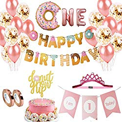 one year old donut birthday theme decorations