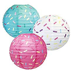 three sprinkle themed paper lanterns