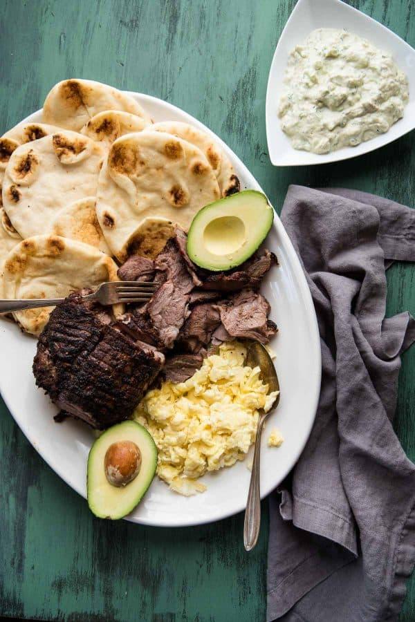 platter of ingredients for breakfast lamb gyros