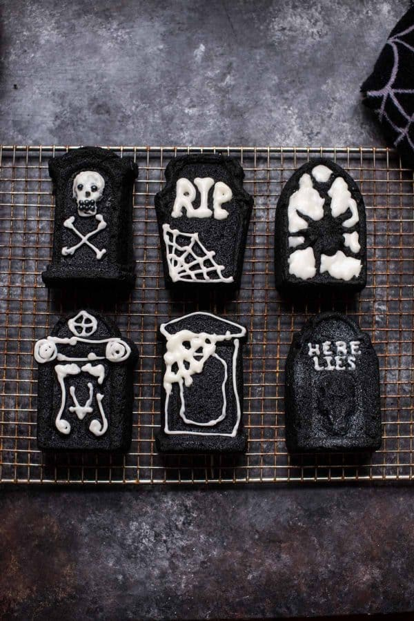 overhead view of decorated tombstone cakes