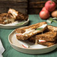 stacked slices of brie grilled cheese