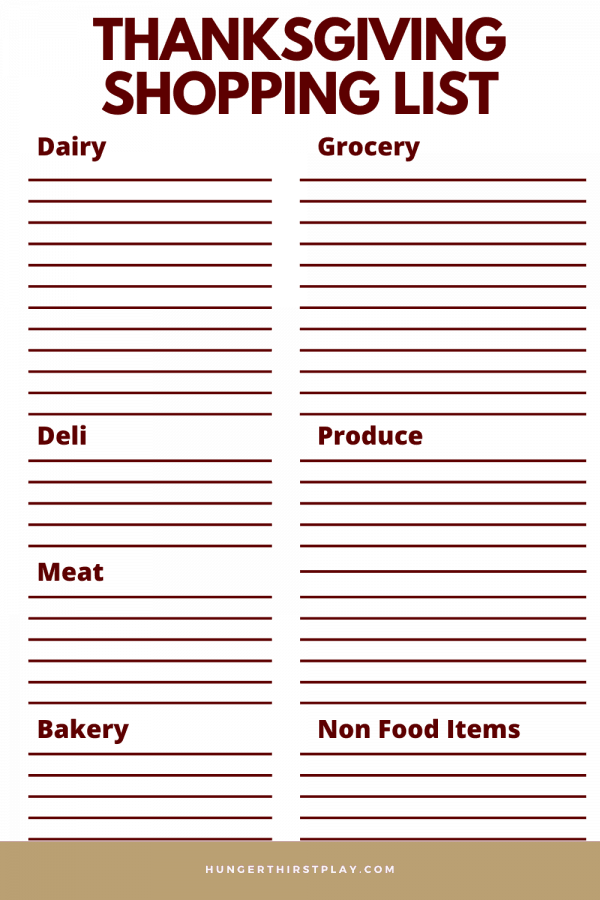thanksgiving shopping list printable organized by department