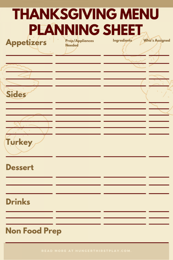 Thanksgiving Menu Planning Sheet