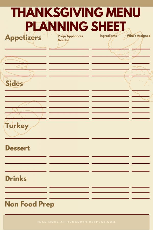 Thanksgiving Menu Planning Sheet
