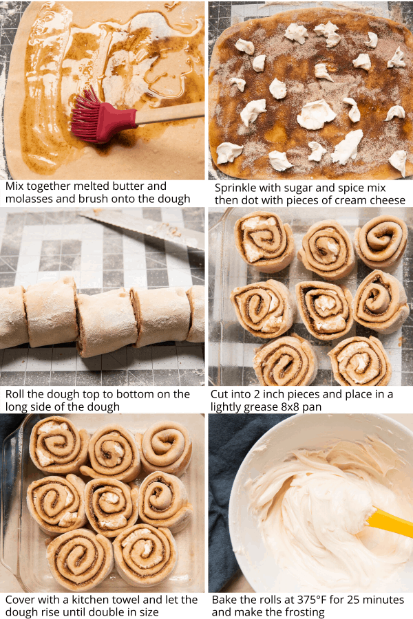 collage of making gingerbread cinnamon rolls