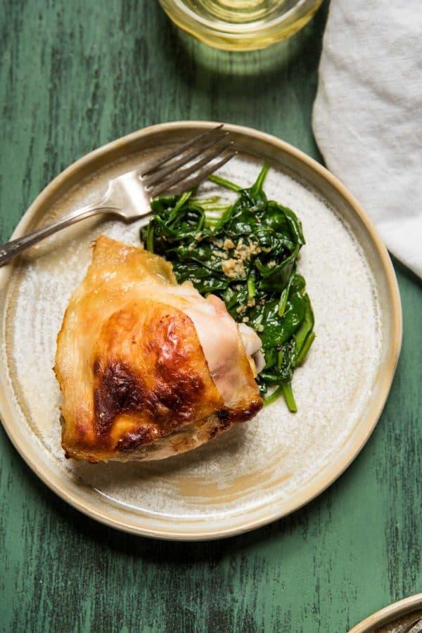 buttermilk roasted chicken thigh with spinach