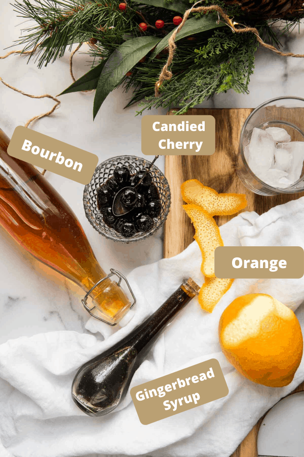 ingredients for a gingerbread old fashioned