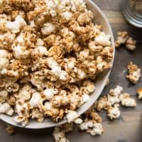 kettle corn style popcorn with gingerbread seasoning in a bowl