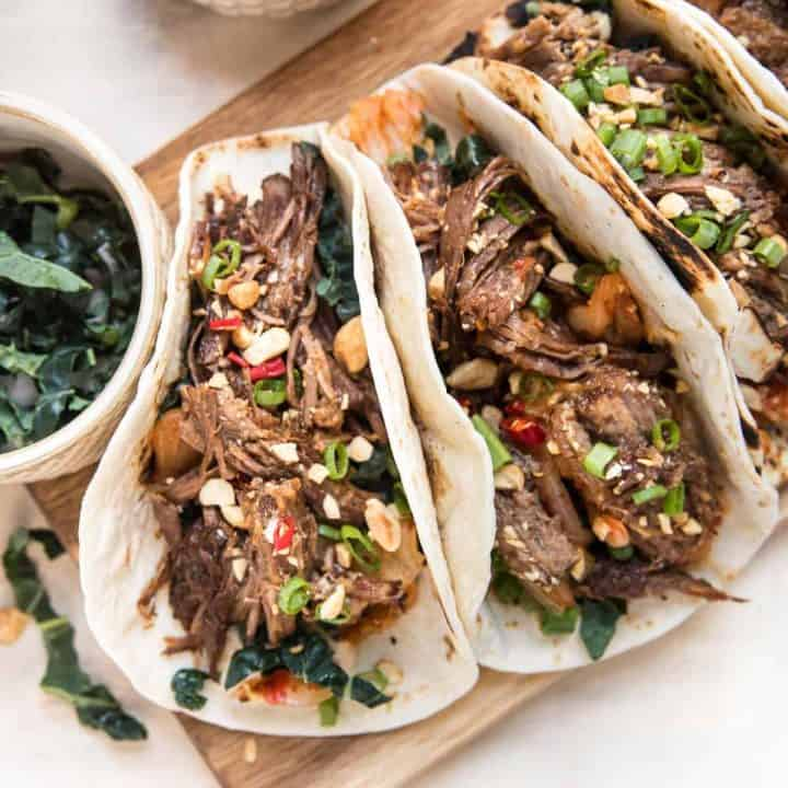 overhead of instant pot korean beef tacos