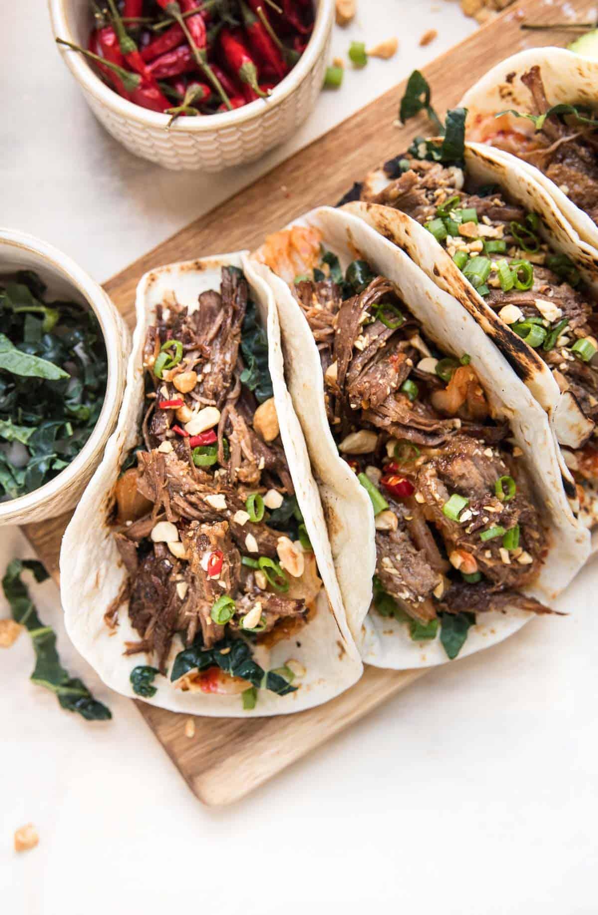 overhead of instant pot korean beef tacos