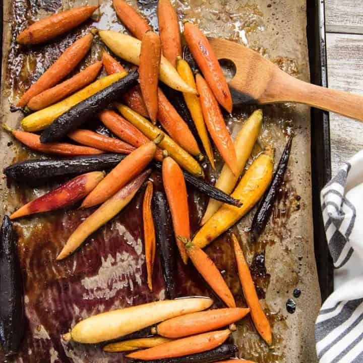 roasted rainbow carrots on a sheet tray