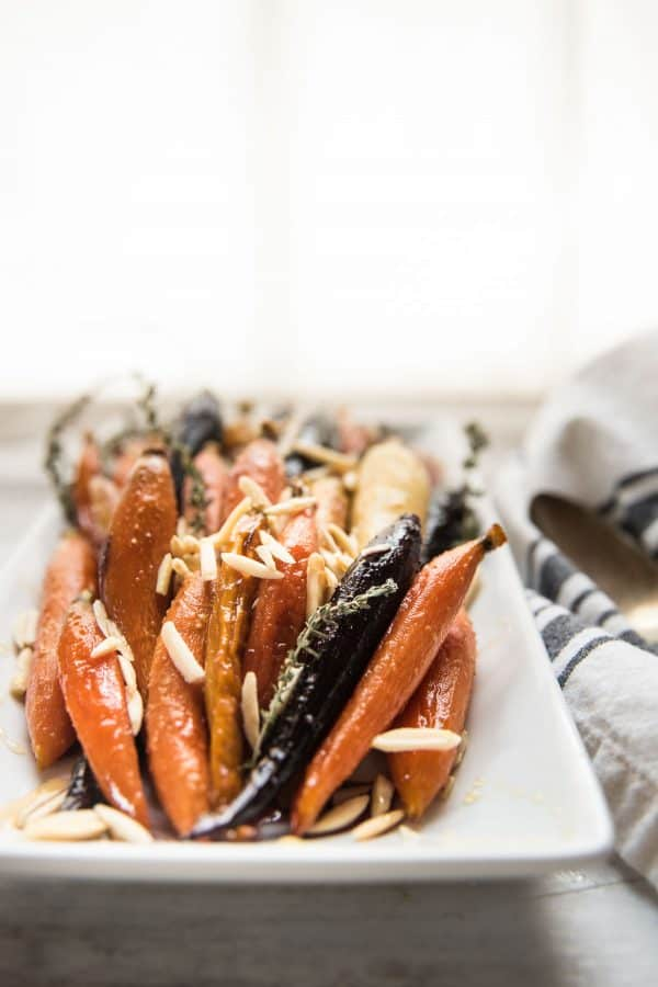 rainbow carrots plates with toasted almonds