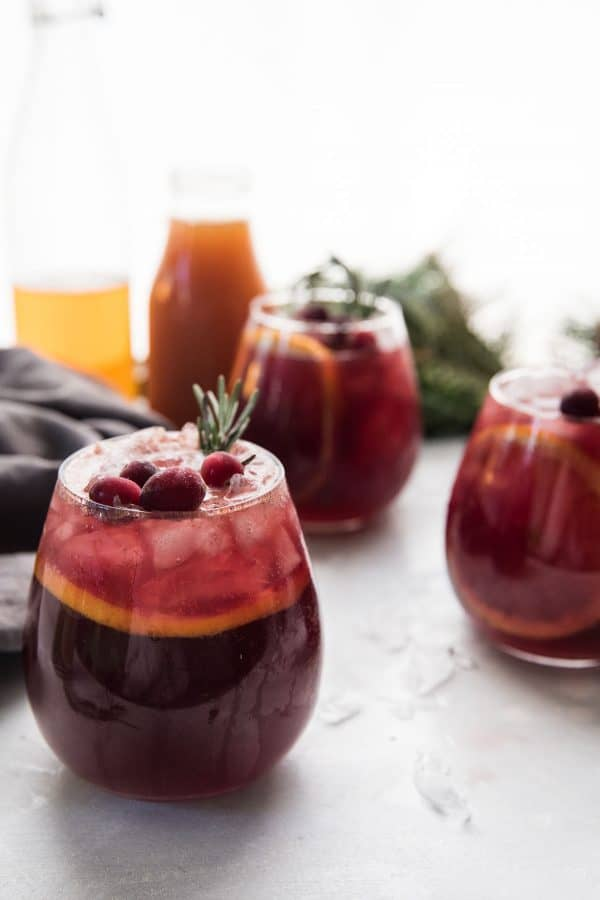 close up of glass of sangria