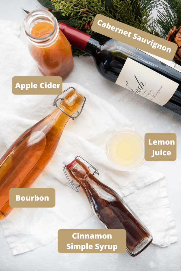 labeled ingredients for christmas sangria
