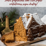 cut pieces of gingerbread house cake