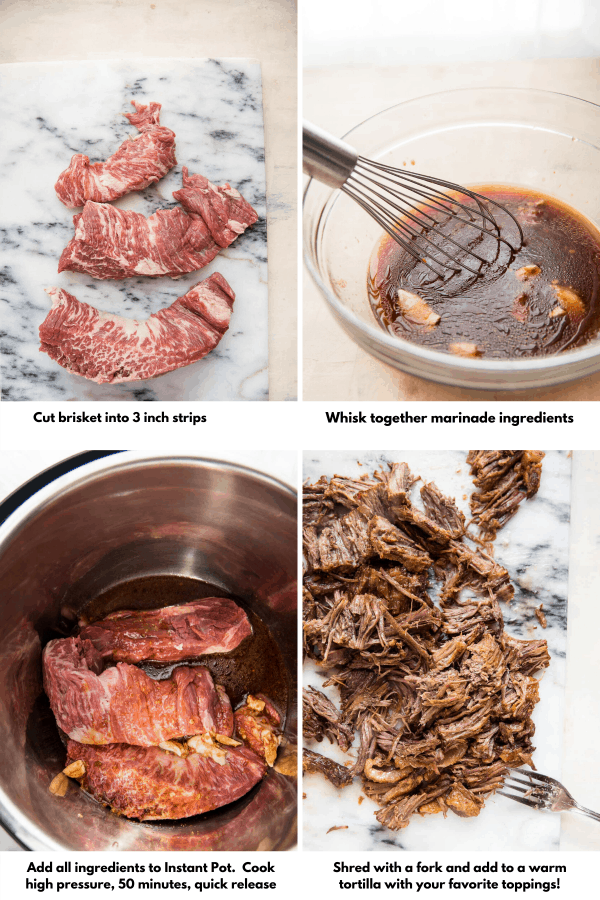 collage of making korean style beef brisket in the Instant Pot