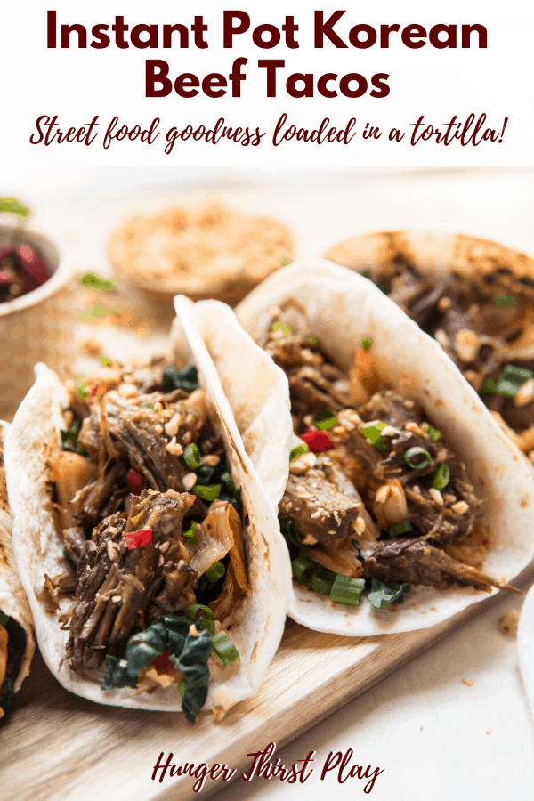 tortillas stuffed with pressure cooker korean beef, kimchi and crushed peanuts
