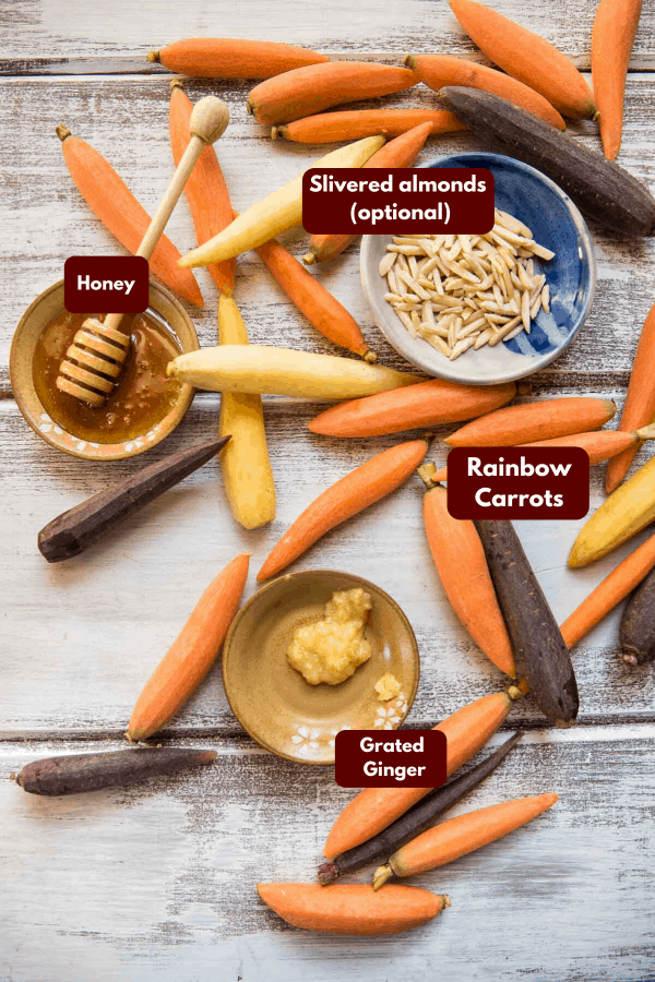 ingredients for honey ginger roasted carrots