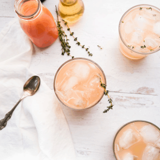 overhead view of pink grapefruit gin cocktails